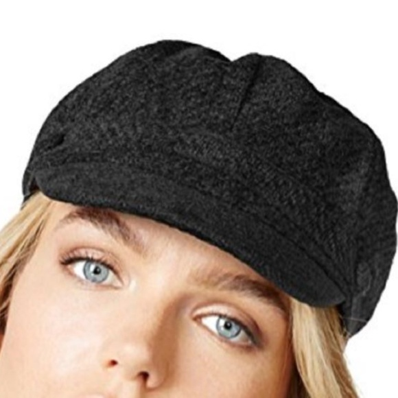 Charter Club Chenille Newsboy Hat Black Women/'s One Size NWT $40